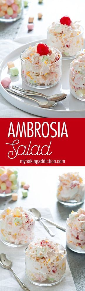 Ambrosia is a creamy fruit salad loaded with pineapple, mandarin oranges, coconut and miniature fruit-flavored marshmallows.
