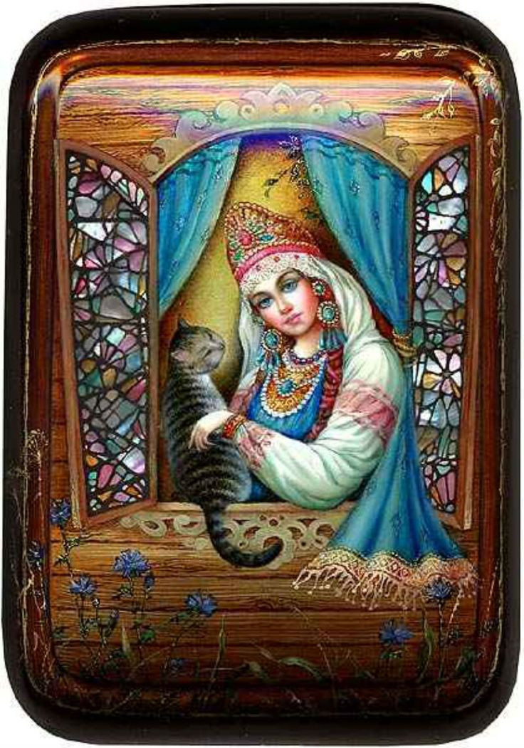 """Russian lacquer miniature from the village of Fedoskino. Russian beauty in traditional headdress """"Kokoshnik"""" and a cat."""