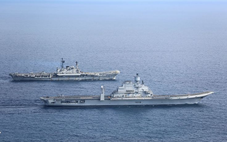 Indian Navy's aircraft carriers INS Viraat and Vikramaditya in the Arabian Sea in January 2014 [1600  998]
