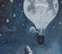Inspiring picture balloon, beautiful, moon, black, blue, girl, poster, home, dream. inspire. imagine., boy, love, drawing, earth, light, white, illustration. Resolution: 500x697. Find the picture to your taste!