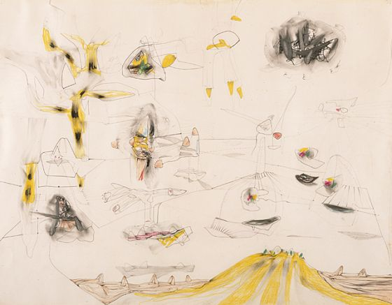Roberto Matta.  Theory of Nature's Strategy (Polypsychology). 1939.  19 1/4 x 25 in.  LACMA Collections
