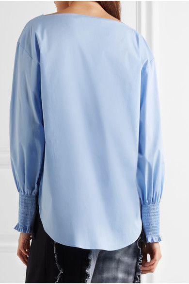 Cédric Charlier - Smocked Cotton-blend Poplin Top - Sky blue - IT38