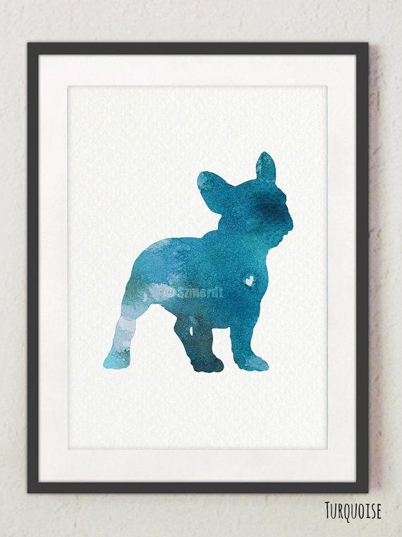 Bulldog francese sagoma, stampa ad acquerello, turchese Home Decor, acquerello di cane
