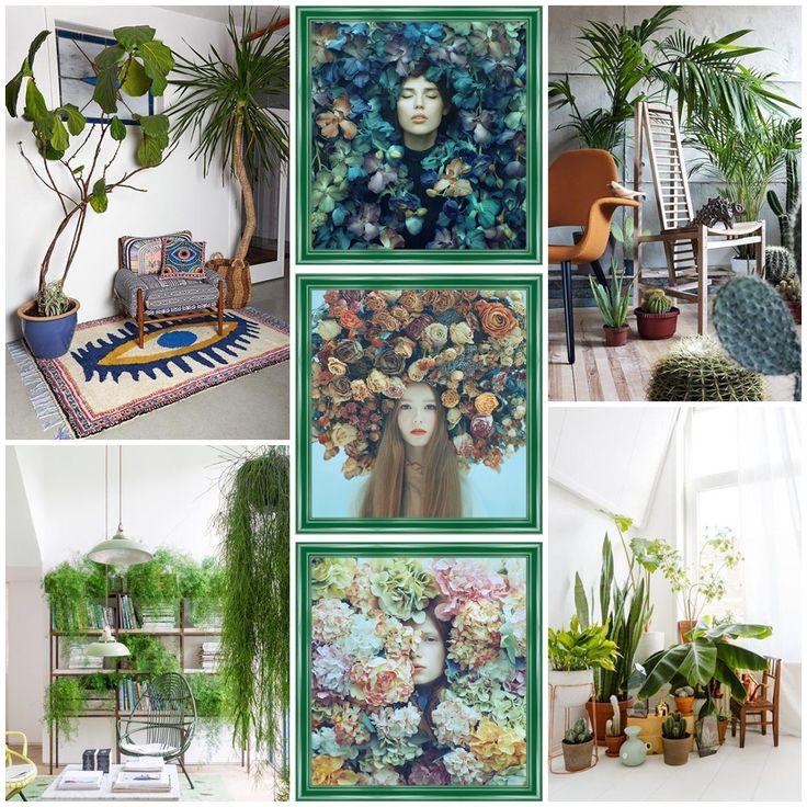 Decoración con plantas y cuadros surrealistas de Oleg Oprisco, molduras de madera de Molduras Hergon (ref. 047-990)