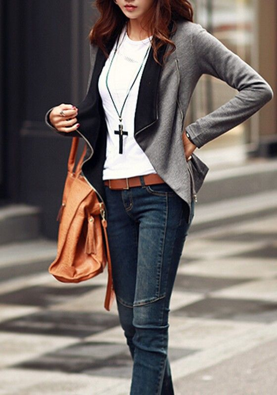Grey-Black Patchwork Zipper Turn-Down Collar Long Sleeve Trendy Fashion Coat