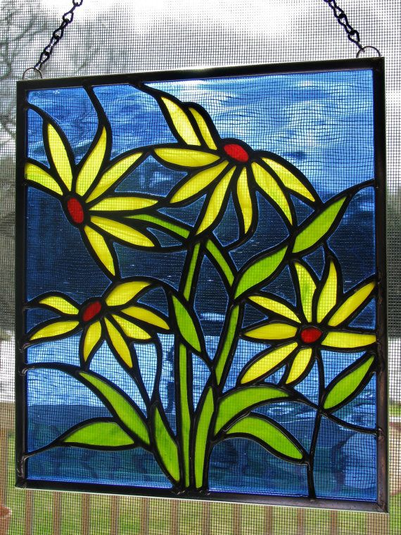 Stained Glass Daisy Panel by RedfordGlassStudio on Etsy ...