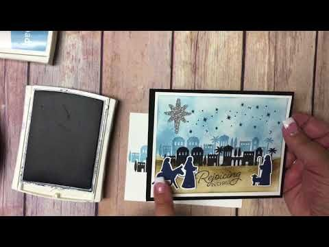 (2) How to make a Christmas Card using the Night in Bethlehem bundle from Stampin' Up! - YouTube