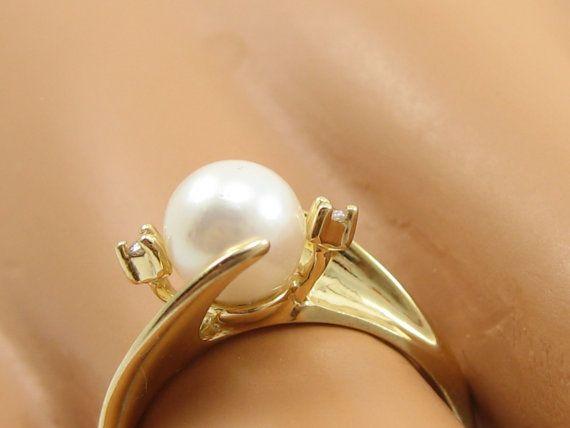 Vintage 14K oro amarillo y diamante perla anillo órbita