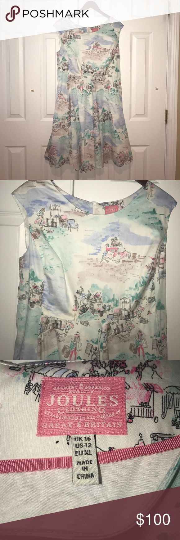 Gorgeous, summery Joules dress Size 12 Joules Clothing (Great Britain) dress. Light and airy dress is perfect for summer! Fun watercolor-inspired design. Wide shoulder straps (about 4 inches). Never worn, NWOT. Joules Dresses Midi