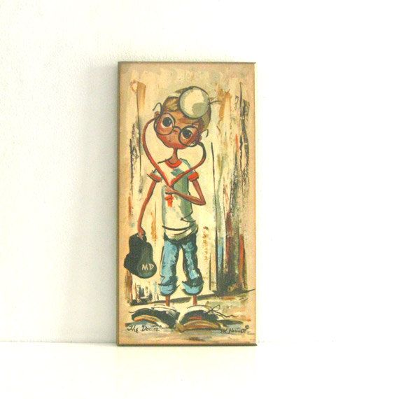 Vintage Big Eyed Art Wall Hanging Plaque - The Doctor by M. Hartnett via Etsy