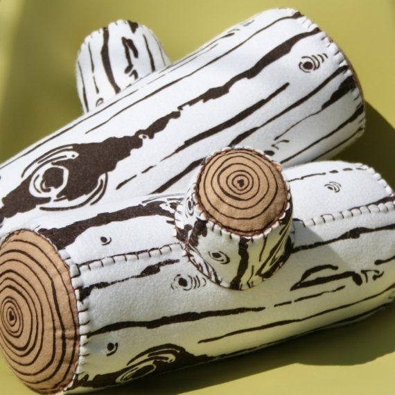 birch screen printed wool log pillow (home decor, pillow, log, fabric, white, brown)Birches, Screens Prints, Fake Wood, Prints Wool, Logs Cabin Home, Kids Room, Logs Pillows, Camps Theme, Boys Room