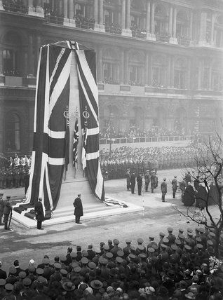Unveiling of the permanent Cenotaph at Whitehall, by His Majesty King George V, 11 November 1920., Nicholls Horace
