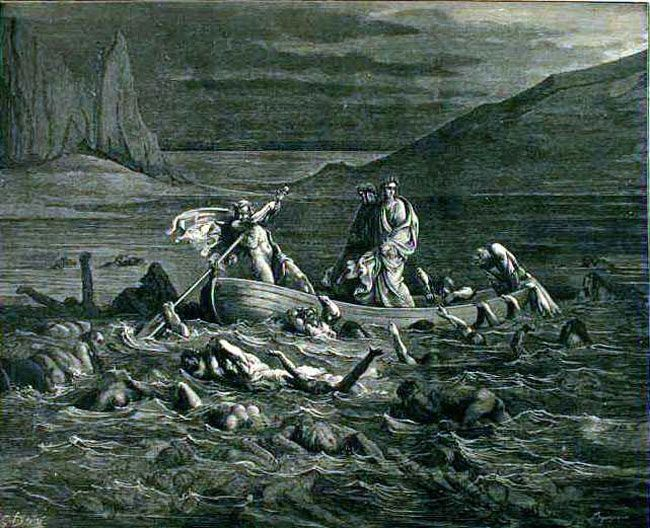 Phlegyas ferries Dante and Virgil across swamp of Styx - Paul Gustave Doré
