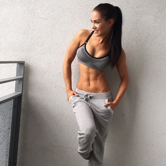 Women Female Fitness Goals Abs Workout Gym Exercise Toned Body Sports Bra Grey Sweatpants StephanieDavisFitness