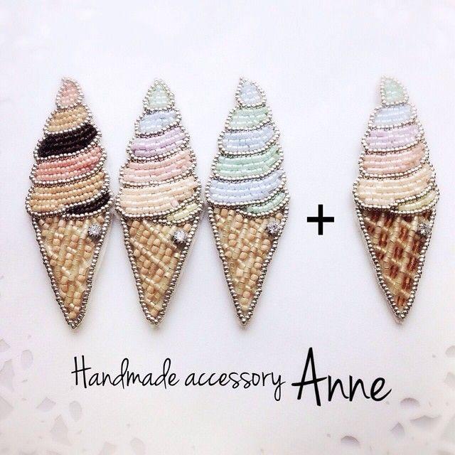 brooch soft cream summer beads ビーズ ブローチ ソフトクリーム 夏// ✄image