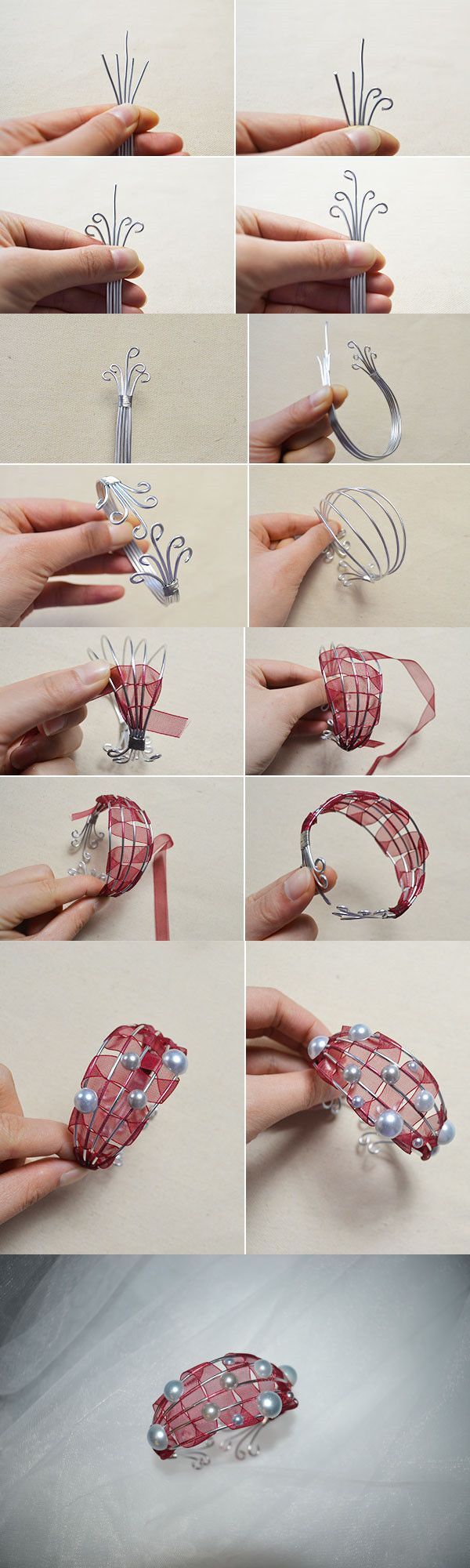 Tutorial on How to Make Red Wire Ribbon Wrapped Bracelets with Pearl Beads from LC.Pandahall.com
