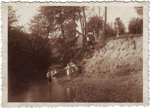 Vintage Photo  Forest landscape  Young women photo  River
