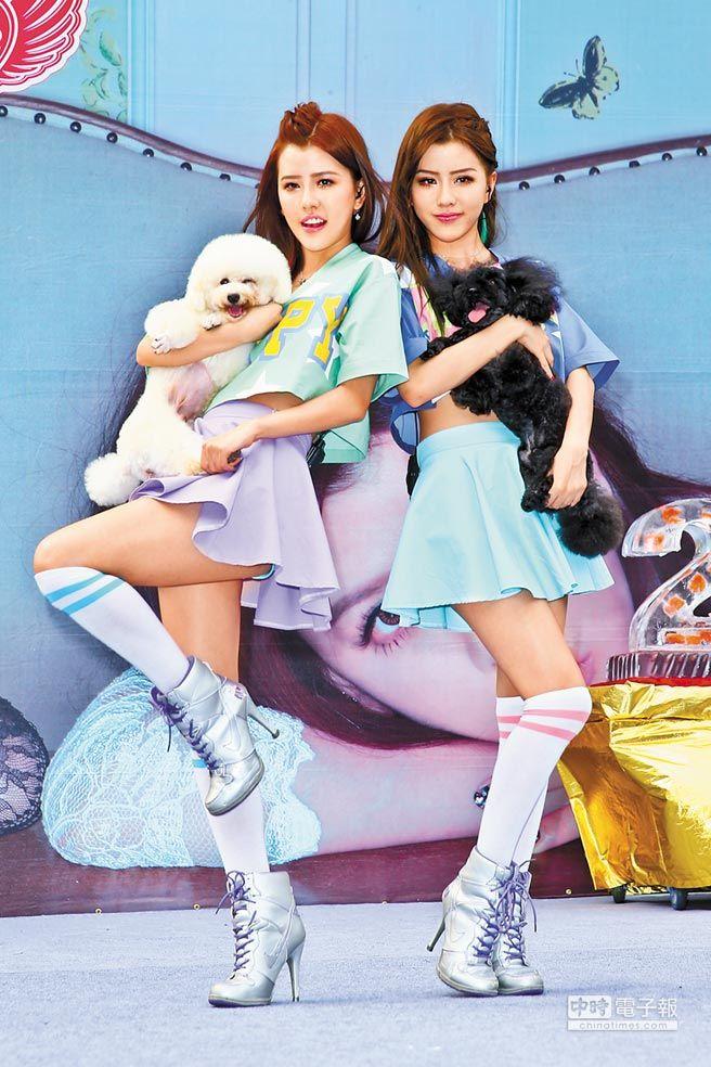 ↑妹妹Yumi(右)和姊姊Miko昨辦簽唱會,唱片公司借兩隻貴賓狗站台。(林弘斌攝)