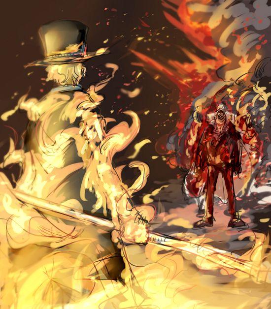 Ace And Luffy Fighting Against Marine Officers: Sabo And Akainu (Sakazuki) One Piece