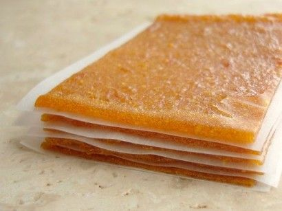 Peach, Kumquat and Tangerine Fruit Leather...my first batch of strawberry is in the oven and I can't wait to try this one.