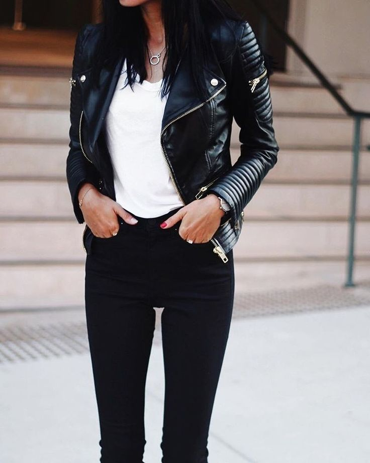 Weekend ready: @andicsinger wears our Leather Biker Jacket. #seedheritage #instagram #woman
