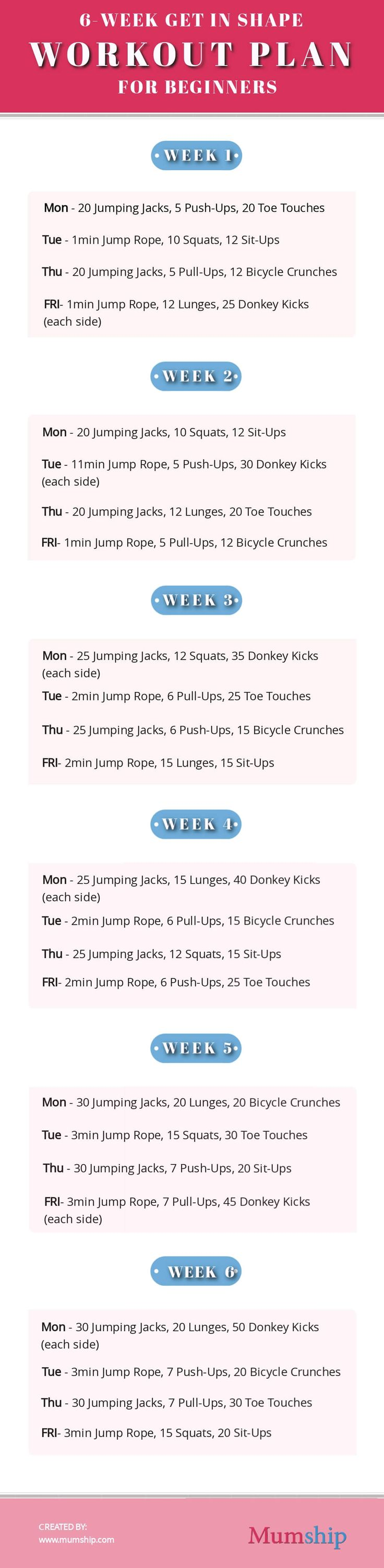 6-Week Get in Shape Workout Plan for Beginners – Fitness and Exercise