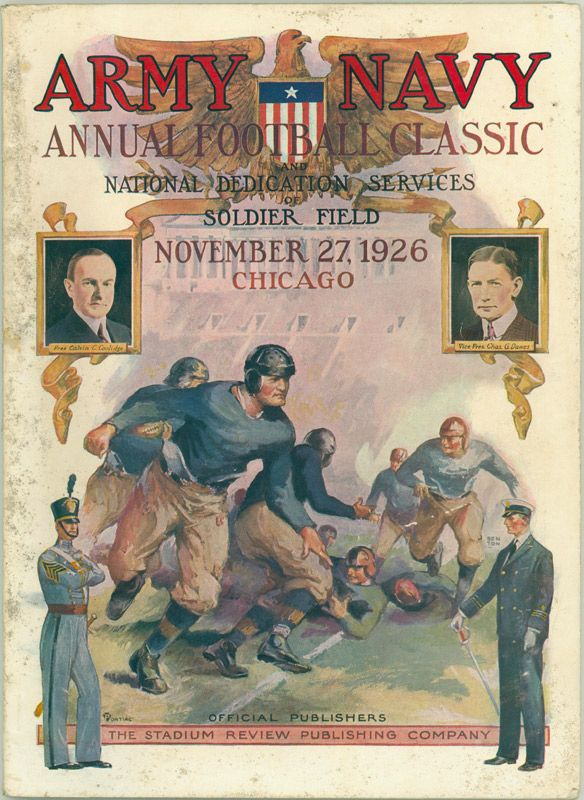 1926 Army vs. Navy Program.  Over 100,000 spectators attended the Nov. 27, 1926, Army-Navy Game at Soldier Field. This game would decide the national championship, as Navy entered undefeated and Army had lost only to Notre Dame. For once the game lived up to all of the pre-game hoop-la, and even though the game ended in a 21-21 tie, Navy was awarded the national championship.  $596