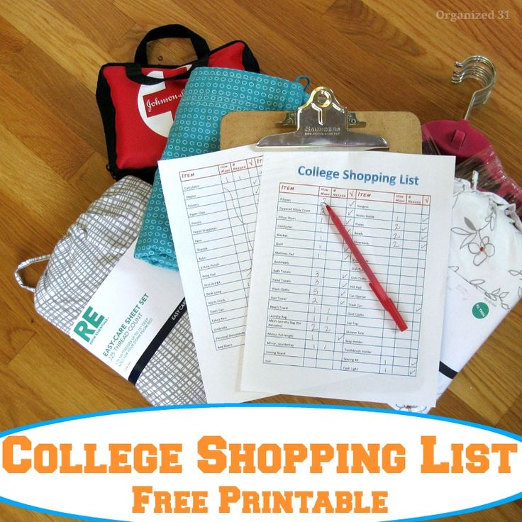 Back to College Shopping List Free Printable - Organized 31