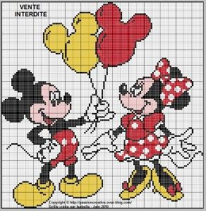 """Bonjour, A la demande d'Anna, je vous présente une grille de Mickey et Minnie. Anna, j'espère que la taille te conviendra. Un clic sur la grille pour l'imprimer Un clic sur le """"timbre papillon"""" à gauche du blog pour m'envoyer une photo de votre ouvrage..."""