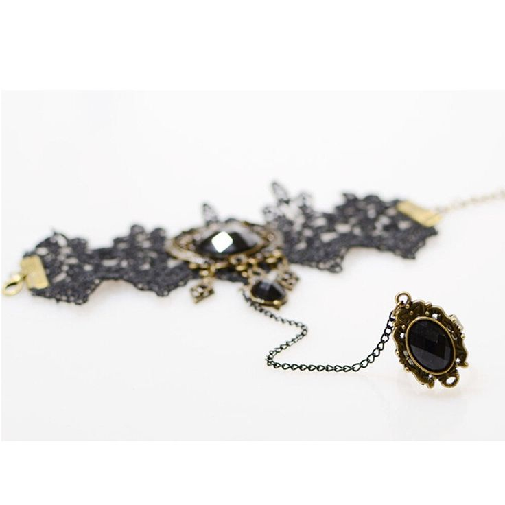Retro Vintage Lady Handmade Jewellery Gothic Lace Flower Finger black - Tomtop.com