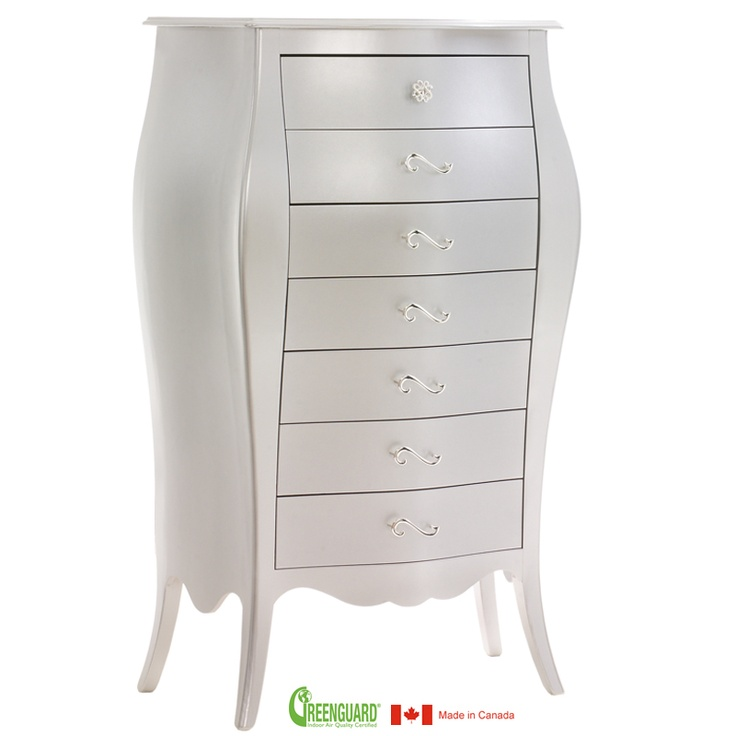 Natart Alexa Lingerie Chest In Silver   Natart Is A Greenguard Certified  Manufacturer, Low VOC Cribs U0026 Furniture   Solid Wood Construction   Made In  Canada