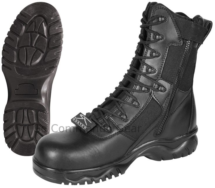 "Forced Entry 8"" Black Tactical Boot W/ Side Zipper & Composite Toe - Police SWAT"