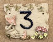 Pixie house number plaque, ceramic address plaque, pixie and magic mushroom house numbers, pixie house sign. - pinned by pin4etsy.com