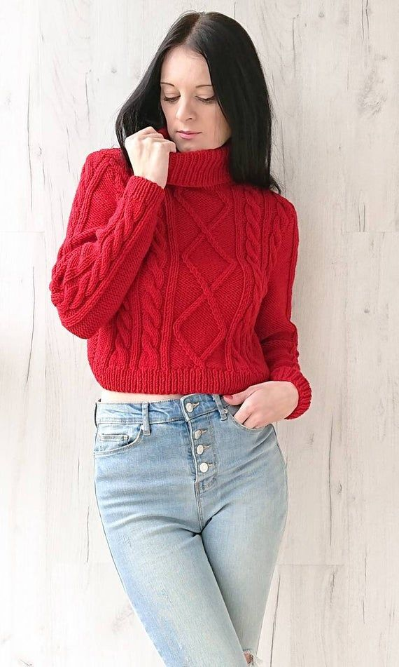 Ready to ship. Red hand knitted crop top