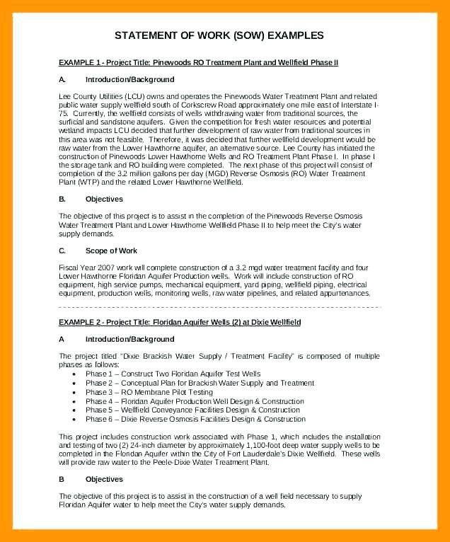 Work Statements Examples Scope Of Statement Example Document