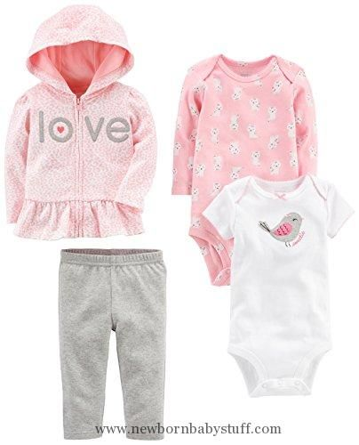 Baby Girl Clothes Simple Joys by Carter's Baby Girls' 4-Piece Little Jacket Set, Pink/Grey, 18 Months