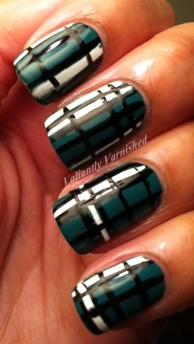 Teal Plaid - Valiantly Varnished: Nails Design