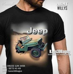 Kaos 3D JEEP WILLYS Community - Kaos JEEP INDONESIA CLUB - Kaos AMERICAN JEEP - Army Willys Jeep