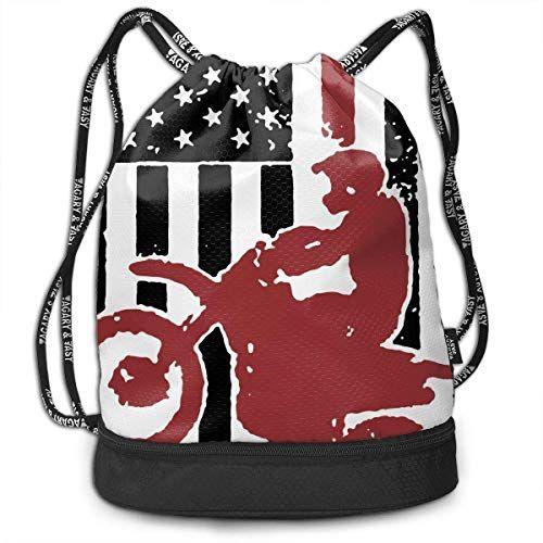 cd21bce54c7c Drawstring Bag for Men & Women USA Flag Dirtbike Motocross Cinch ...