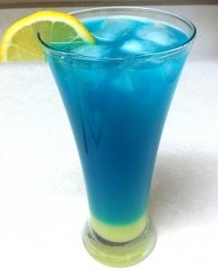 Blue Lemonade  Ingredients:  2 oz vodka  2 oz Blue Curacao liqueur  6 oz lemonade (I used the mix)  Ice cubes