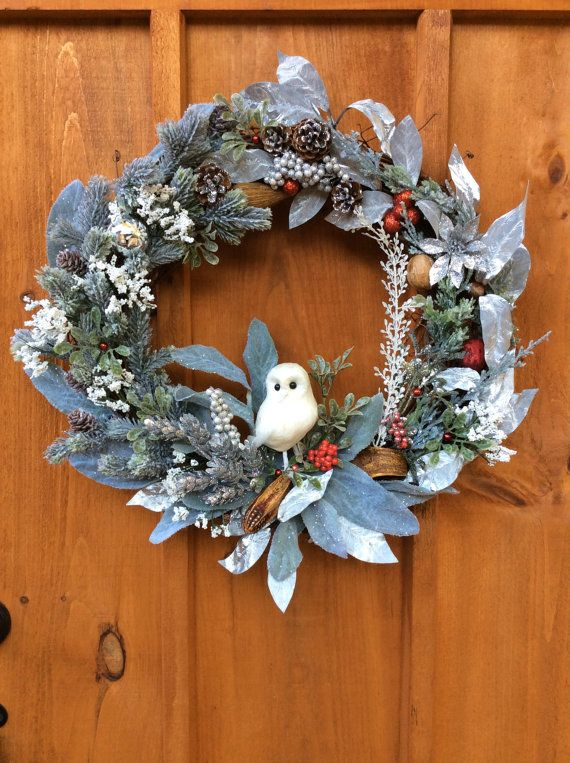 Snowy Owl Wreath, Christmas, Winter,  Front Door, Wildlife,  Grapevine Wreath, Artificial Silk Flower Wall Decor, Made in Canada