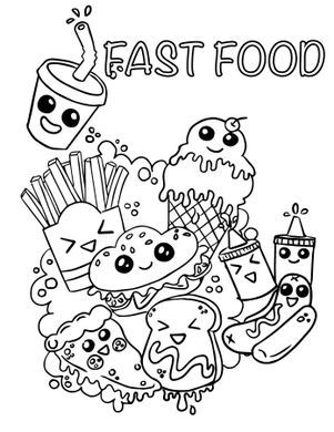 Coloriage Emoji Fast Food Adorable à Imprimer Artherapieca