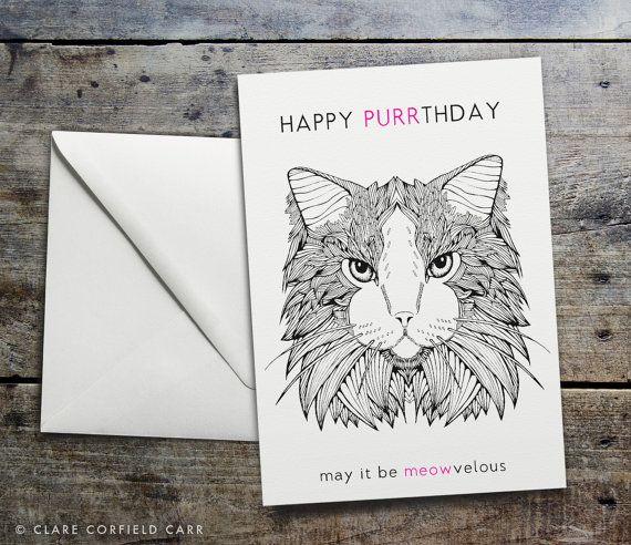 Funny Cat Birthday Card  'HAPPY PURRTHDAY' by clarecorfieldcarr