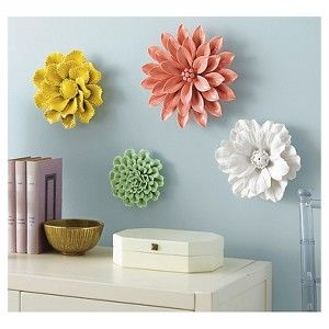 Threshold Ceramic Flower Wall Art For The Flowers Sculptures Fl