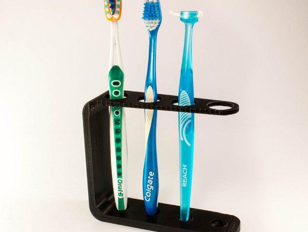Quad Toothbrush Holder by JMSchwartz11 - Thingiverse// add floss dispenser :P