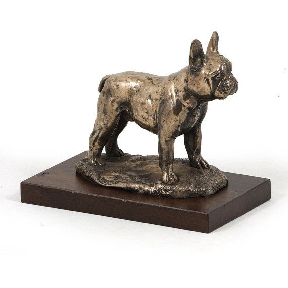 French Bulldog dog wooden base statue limited by ArtDogshopcenter