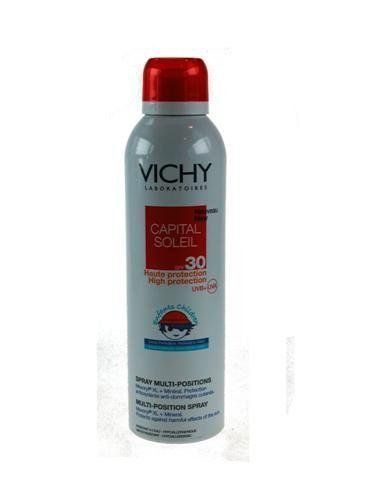 Vichy Capital Soleil Multi-position Spray Spf30 for Children by Vicco. $15.95. Children's sensitive skin. 200 ml -aerosol. Skin Type : Children sensitive skin  Action : With Mexoryl XL. Protects against harmful effects of UV rays and sun-induced skin damage. Continuous mist for application in a record time  Fragrance-free  Paraben free + Hypoallergenic, photostable, colorant-free, preservative-free, non-comedogenic,  tested under dermatological and pediatrician supervision...