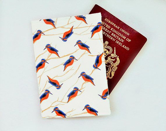 Kingfisher passport case  bird print travel wallet  bird