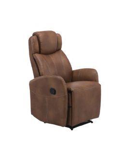 Sillón reclinable muy cómodo ideal para la recámara. Este hermoso sillón está fabricado en tactopiel con color café y cuenta con una medidas de 80 cms de ancho y una altura de 120 cms.