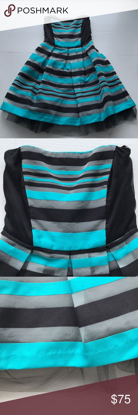 Striped Cocktail Dress Teal and Black stripes. Strapless. Lined with black tulle and satin. Purchased from ModCloth. Only worn once! Eva Franco Dresses Strapless